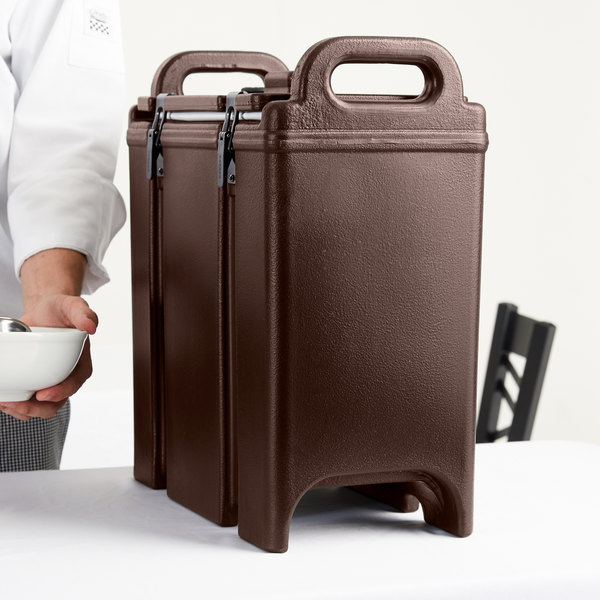 Cambro 350LCD131 Camtainer 3.375 Gallon Dark Brown Insulated Soup Carrier Main Image 8