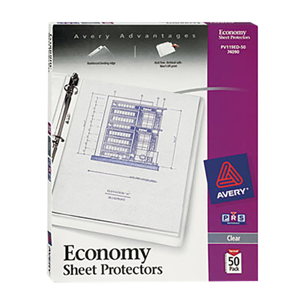 Avery 74090 8 1/2 inch x 11 inch Economy Clear Acid-Free Sheet Protectors - 50/Box