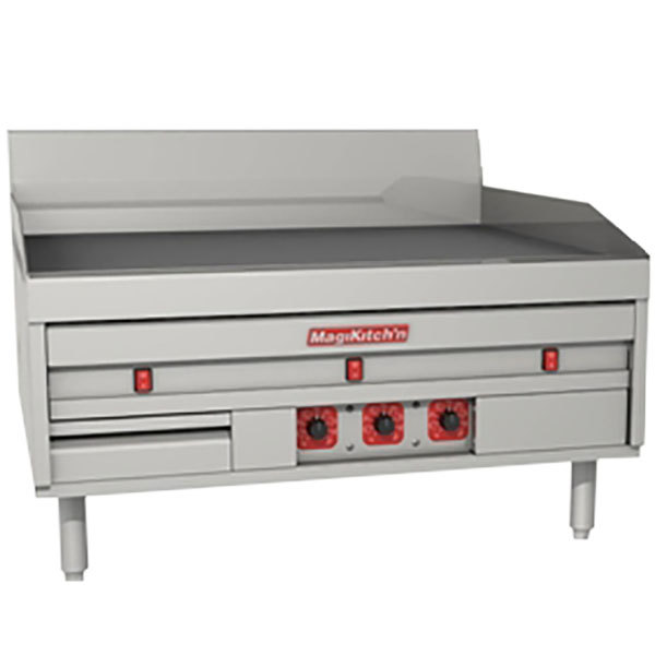"MagiKitch'n MKE-72-ST 72"" Electric Countertop Griddle with Solid State Thermostatic Controls - 208V, 3 Phase, 34.2 kW"