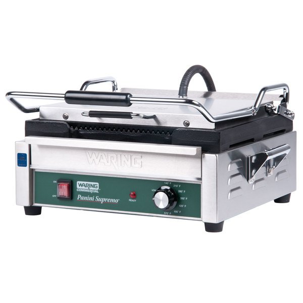 """Waring WPG250 Panini Supremo Grooved Top & Bottom Panini Sandwich Grill - 14 1/2"""" x 11"""" Cooking Surface - 120V, 1800W"""