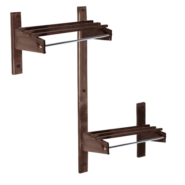 "CSL TSOADA-36-CM 36"" ADA Series Cherry Mahogany Wall Mount Coat Rack with Hardwood Top Bars and 5/8"" Hanging Rod"