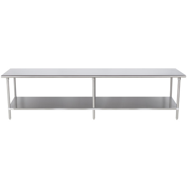 "Advance Tabco Premium Series SS-3611 36"" x 132"" 14 Gauge Stainless Steel Commercial Work Table with Undershelf"