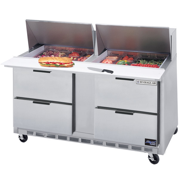 "Beverage-Air SPED60HC-24M-4 Elite Series 60"" 4 Drawer Mega Top Refrigerated Sandwich Prep Table"