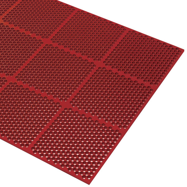 """Cactus Mat 2535-R36 Honeycomb 3' x 6' Red Grease-Resistant Anti-Fatigue Rubber Mat - 9/16"""" Thick"""