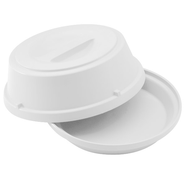 "Cambro HK39148 Camwear Antique White Heat Keeper Base and Cover for 9"" Plate - 6/Case"