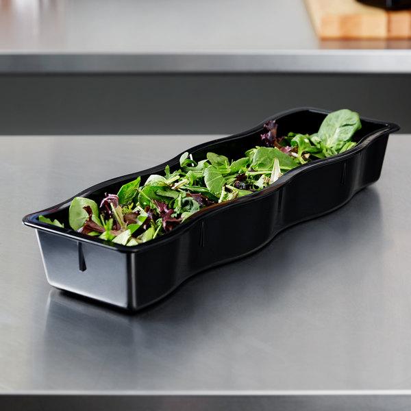 Carlisle 698203 Modular Displayware 1 2 Size Long Black Polycarbonate Wavy Edge Food Pan 3 Deep