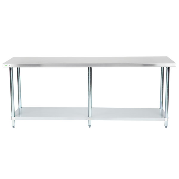 "Regency 24"" x 84"" 18-Gauge 304 Stainless Steel Commercial Work Table with Galvanized Legs and Undershelf"
