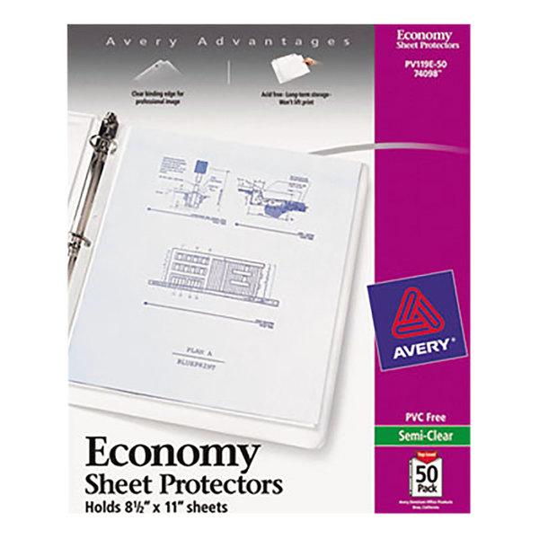 Avery 74098 8 1/2 inch x 11 inch Economy Semi-Clear Acid-Free Sheet Protectors - 50/Box