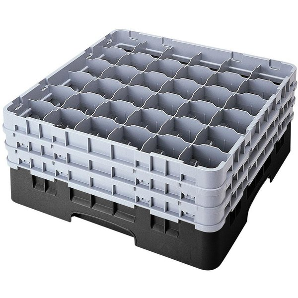 "Cambro 36S638110 Black Camrack Customizable 36 Compartment 6 7/8"" Glass Rack"