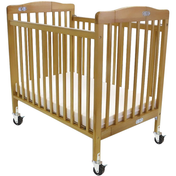 "L.A. Baby 888A-N 24"" x 38"" Natural Folding Pocket Crib with 3"" Fire Retardant Mattress Main Image 1"