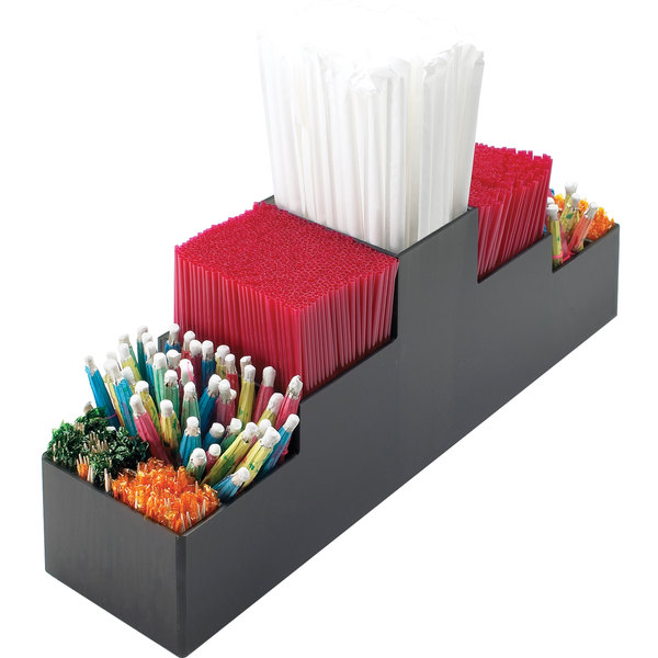 Cal-Mil 212 Classic Black Nine Section Bar Organizer - 3 3/4 inch x 15 1/2 inch x 5 1/4 inch