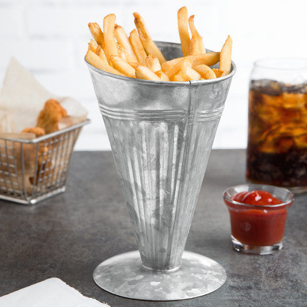 American Metalcraft GFC7 20 oz. Galvanized Metal Footed French Fry Cup