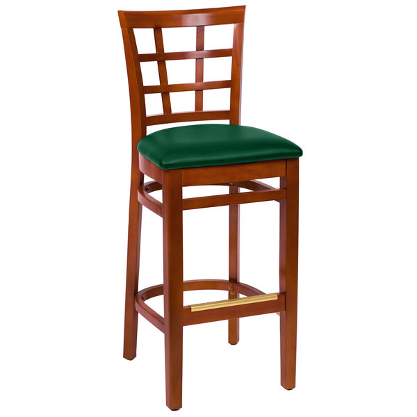 """BFM Seating LWB629CHGNV Pennington Cherry Beechwood Bar Height Chair with Window Wooden Back and 2"""" Green Vinyl Seat Main Image 1"""