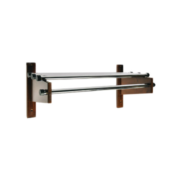 "CSL TDE-36D 36"" Dark Oak Wall Mount Coat Rack with Chrome Top Bars and 1"" Hanging Rods"