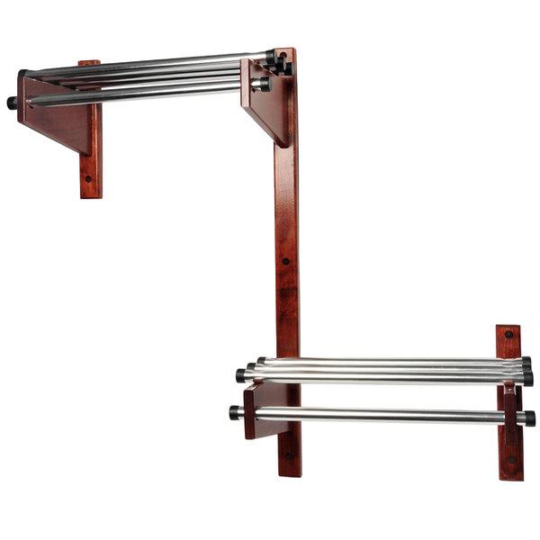"CSL TDEADA-36-M 36"" ADA Series Mahogany Wall Mount Coat Rack with Chrome Top Bars and 1"" Hanging Rod"