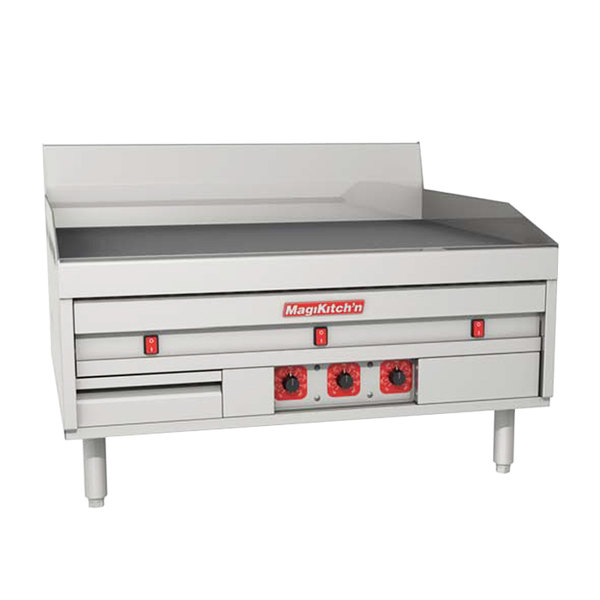 "MagiKitch'n MKE-60-E-CHROME 60"" Electric Chrome Countertop Griddle with Thermostatic Controls - 240V, 1 Phase, 28.5 kW"