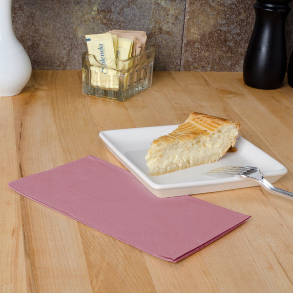 "Dusty Rose Pink Paper Dinner Napkins, 2-Ply, 15"" x 17"" - Hoffmaster 180525 - 125/Pack"