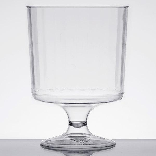 WNA Comet CCW8240 Classicware 8 oz. 1-Piece Clear Plastic Pedestal Wine Cup  - 10/Pack