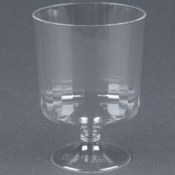 WNA Comet CCW8240 Classicware 8 oz. Clear Plastic Pedestal Wine Cup - 10/Pack