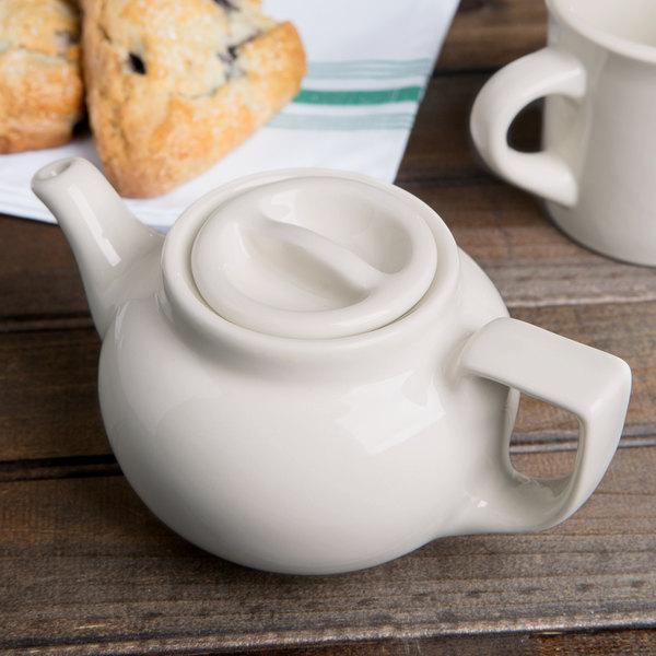 Hall China 110AWHA Ivory (American White) 10 oz. Boston Teapot - 12/Case
