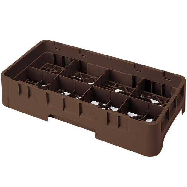 """Cambro 8HS434167 Brown Camrack Customizable 8 Compartment 5 1/4"""" Half Size Glass Rack"""
