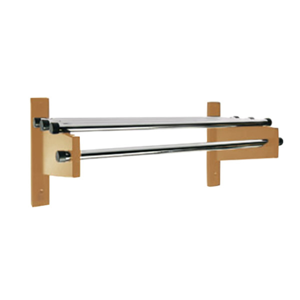 """CSL TDE-1824L 24"""" Light Oak Wall Mount Coat Rack with Chrome Top Bars and 1"""" Hanging Rods"""