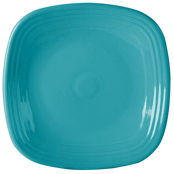 """Homer Laughlin 919107 Fiesta Turquoise 10 3/4"""" Square Plate - 12/Case"""