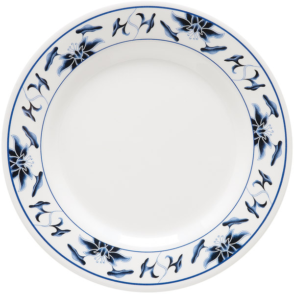 """GET M-5080-B Water Lily 9 1/2"""" Melamine Plate - 12/Pack"""