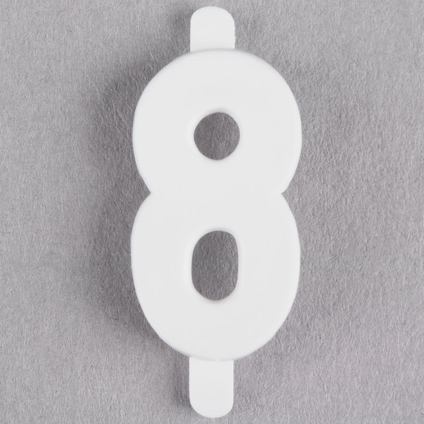 "3/4"" White Molded Plastic Number 8 Deli Tag Insert - 50/Set"