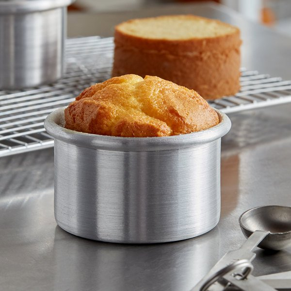 """3"""" x 2"""" Aluminum Mini Cheesecake Pan with Removable Bottom Main Image 4"""