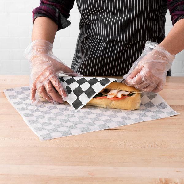 "Choice 15"" x 15"" Black Check Deli Sandwich Wrap Paper - 1000/Pack Main Image 3"
