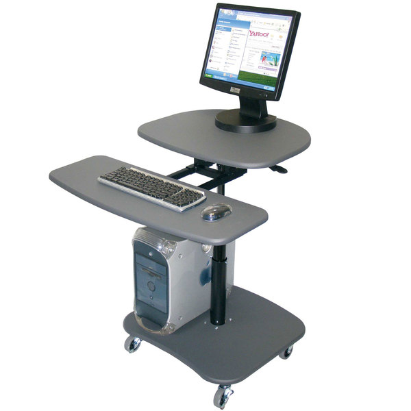 Luxor LAMC3037 Mobile Computer Cart with Adjustable Height - Gray