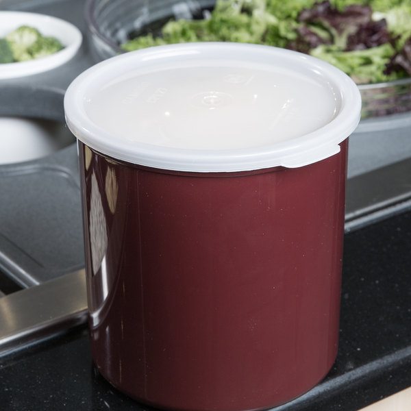 Cambro CP27195 2.7 Qt. Reddish Brown Round Crock with Lid