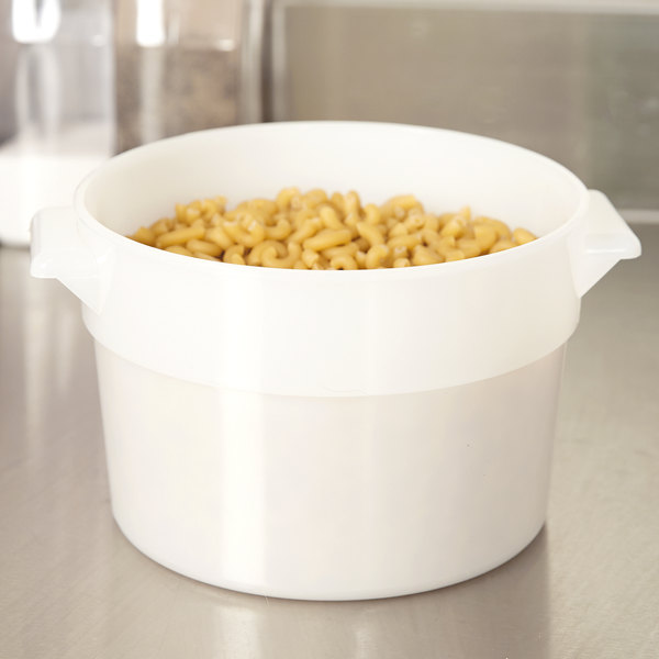 Carlisle 020002 2 Qt. White Round Food Storage Container