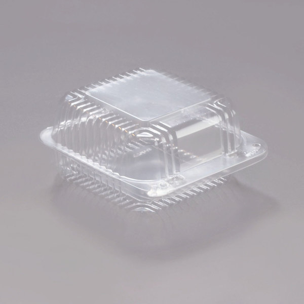 Dart Solo C20UT1 StayLock 5 1/4 inch x 5 5/8 inch x 2 3/4 inch Clear Hinged Plastic 5 inch Square Container - 500/Case