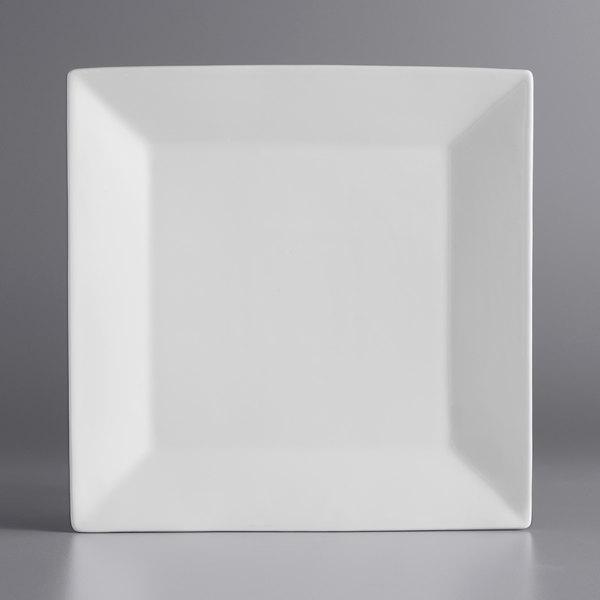 Acopa 10 inch Bright White Square Porcelain Plate - 12/Case