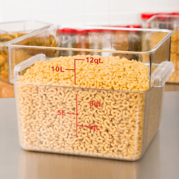 12 Qt. Clear Square Polycarbonate Food Storage Container with Red Gradations