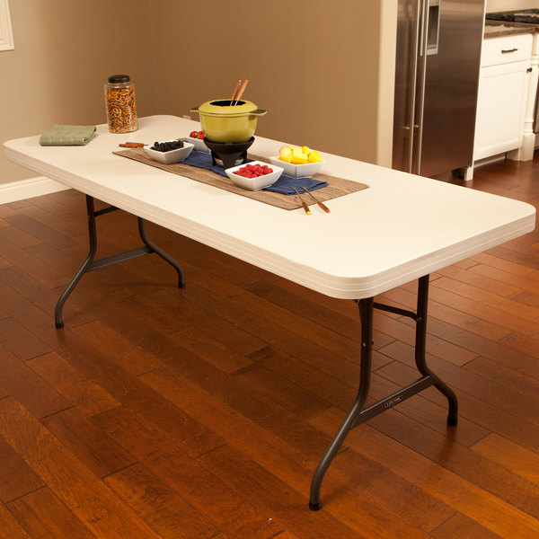 "Lifetime Folding Table, 30"" x 72"" Plastic, Almond - 2900"