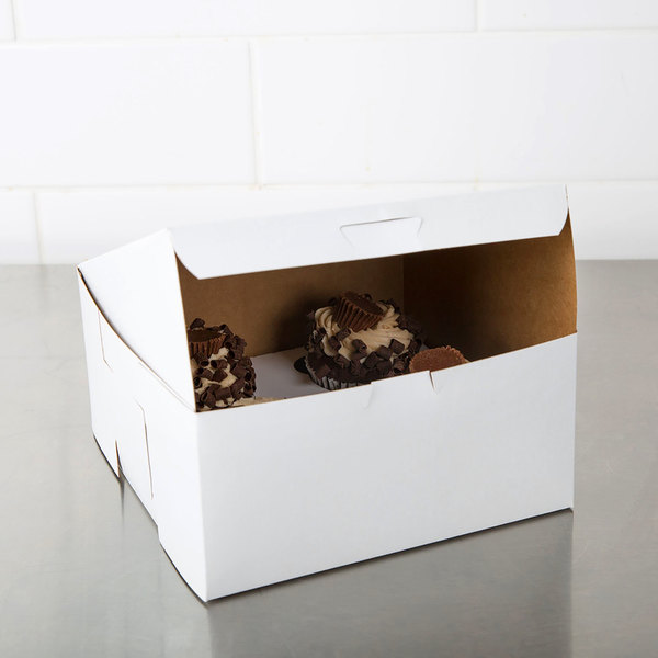"Southern Champion 0941 8"" x 8"" x 4"" White Cake / Bakery Box - 10/Pack"
