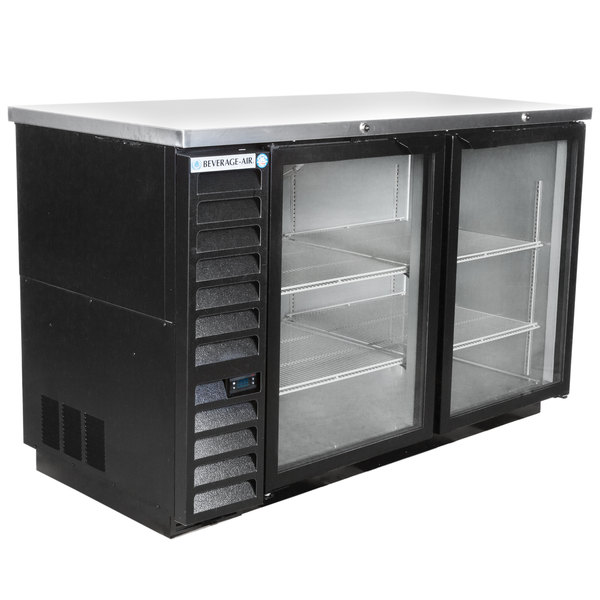 "Beverage-Air BB58HC-1-G-B 59"" Back Bar Refrigerator with 2 Glass Doors 115V Main Image 1"