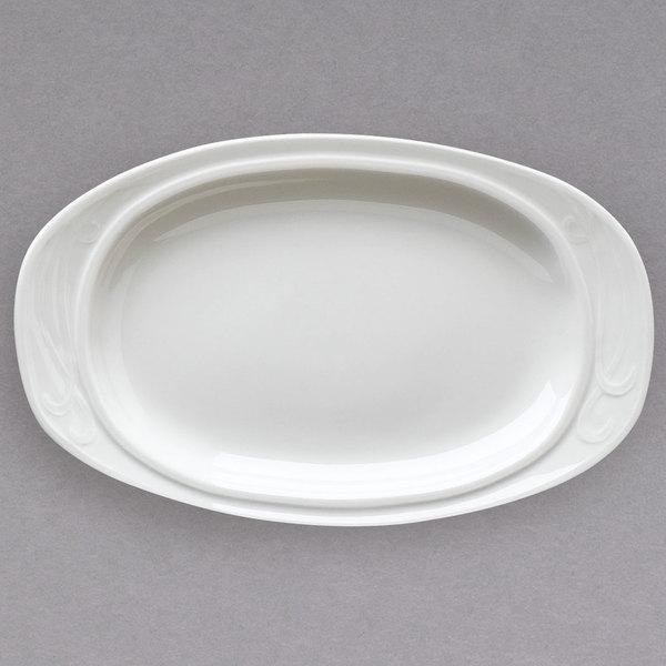 "Homer Laughlin 6161000 13 3/8"" Ivory (American White) Oval China Platter - 12/Case"