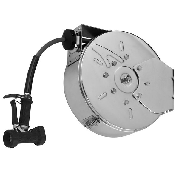 T&S B-7222-C02 30' Enclosed Epoxy Coated Steel Hose Reel with Rear Trigger Water Gun