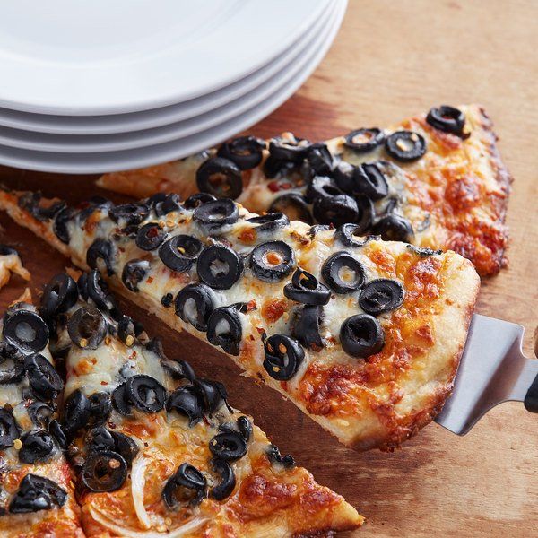 Pizza topped with sliced black mission olives