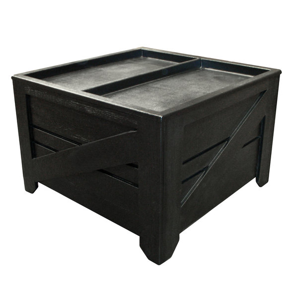 Orchard Produce Display Bin 4' x 4' with Liner and Casters - Wood Grain Plastic Main Image 1