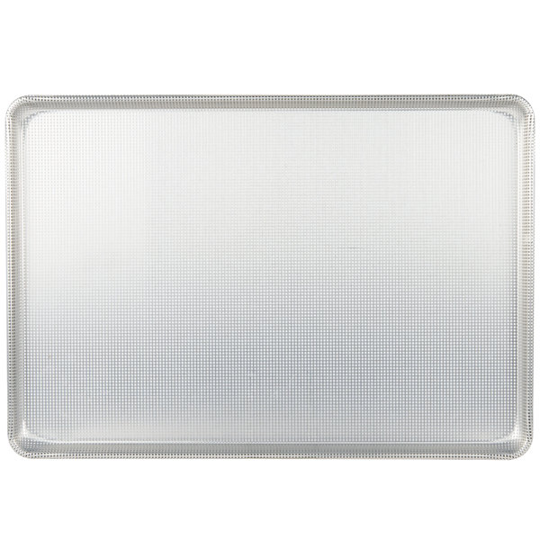 "Chicago Metallic 44692 Fully Perforated Full Size 16 Gauge Glazed Aluminum Customizable Sheet Pan - Wire in Rim, 18"" x 26"""