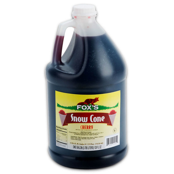 Fox's Cherry Snow Cone Syrup 4 - 1 Gallon Containers / Case