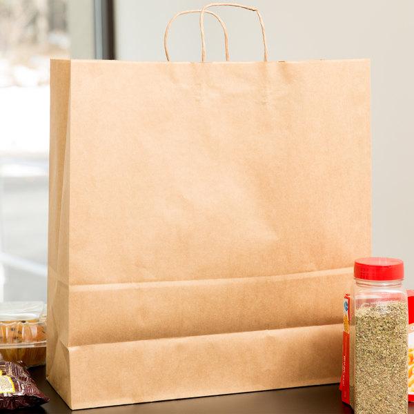 "Duro Cargo Natural Kraft Paper Shopping Bag with Handles 18"" x 7"" x 18 3/4"" - 200/Bundle Main Image 3"