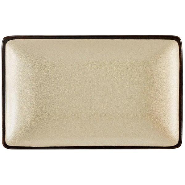 """CAC 666-33-W Japanese Style 5"""" x 3 1/2"""" Rectangular China Plate - Black Non-Glare Glaze / Creamy White - 36/Case"""