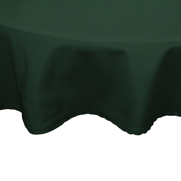 120 inch Round Forest Green 100% Polyester Hemmed Cloth Table Cover