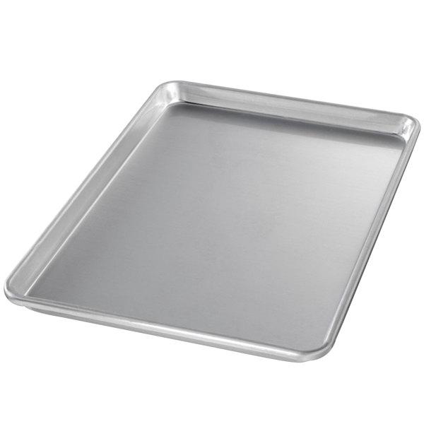 "Chicago Metallic 40955 Half Size 14 Gauge Glazed Aluminum Customizable Sheet Pan - Sanitary Open Bead/Semi-Curled Rim, 13"" x 18"""